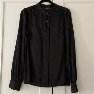 The Limited | Black Gold Button Blouse